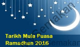 Tarikh Mula Puasa Ramadhan 2016
